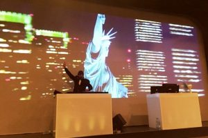 Leinwand VJ, DJ, Party, Freiheitsstatur
