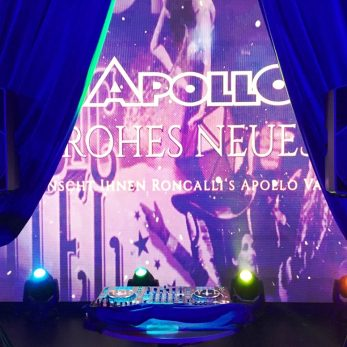 DJ Vince. Pult vorbereitet im Apollo Theater